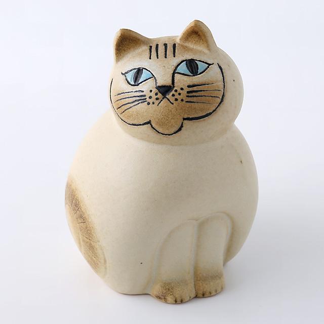 Lisa Larson/リサ・ラーソン/オブジェ/Mia Cat(ネコ)M/ホワイト×ブラウン