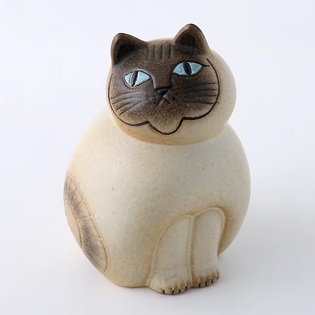 Lisa Larson/リサ・ラーソン/オブジェ/Mia Cat(ネコ)M/ホワイト×グレー