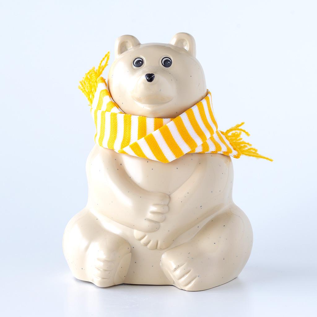 【数量限定】しろくま貯金箱(2019年秋冬限定 ブルーボーダーマフラー付き) Polar Bear Money Box