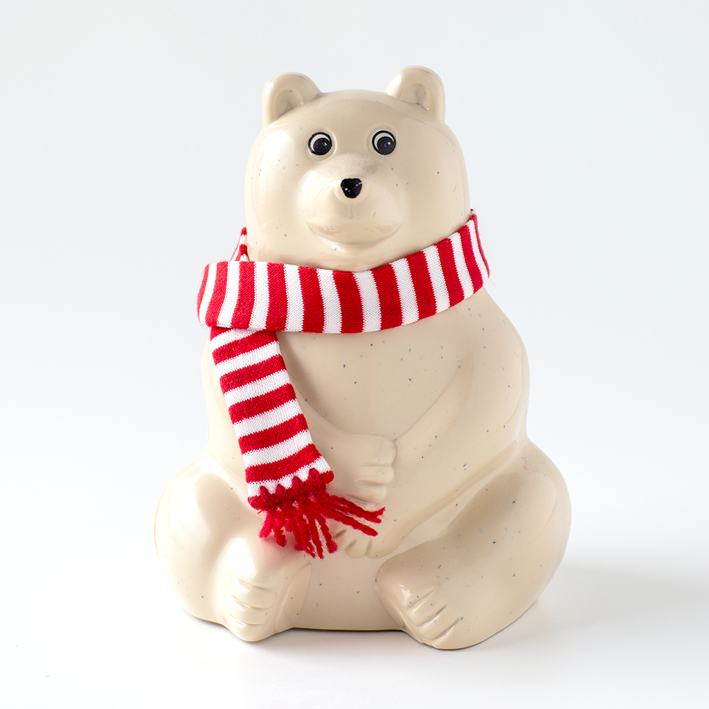 【数量限定】しろくま貯金箱(2020年秋冬限定 黒ボーダーマフラー付き) Polar Bear Money Box