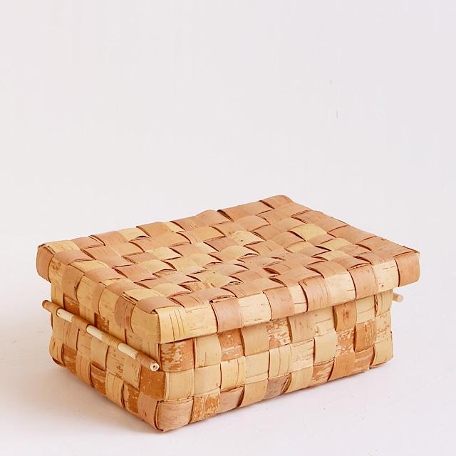 白樺かご/大きな蓋付きボックス(小)