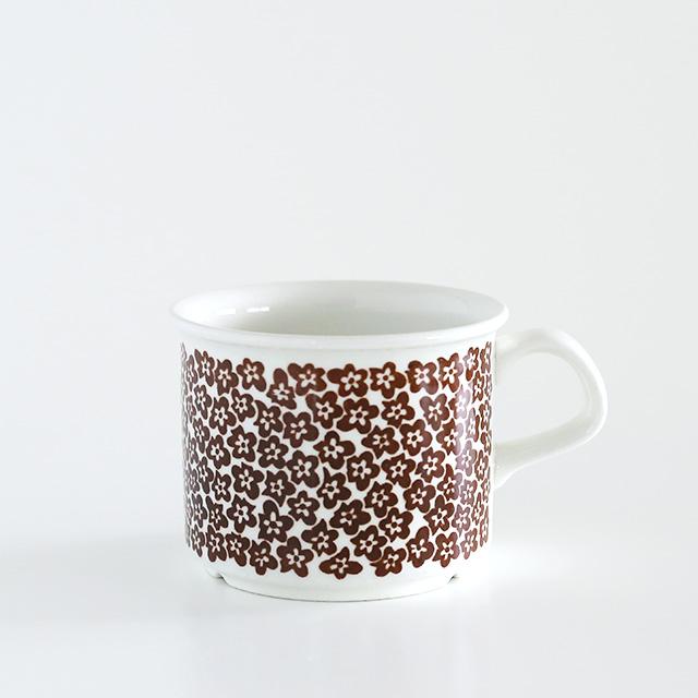【ヴィンテージ】Arabia/アラビア/Faenza/ファエンツァ(ブラウン小花)/コーヒーカップ