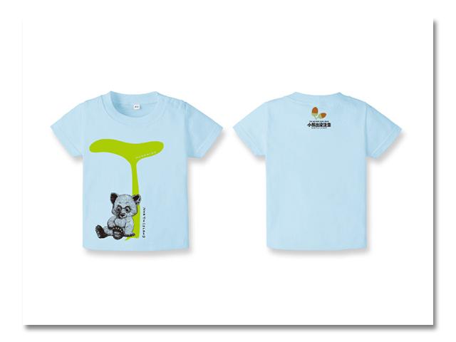 ベビーTシャツ小熊出没 ふき ブルー