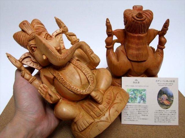 アウトレット 3L 人気 夢を叶える象 極上一級手彫り彫刻 カダンバ木彫りガネーシャ置物 3Lサイズ 高さ約20.5cm 保証書付き