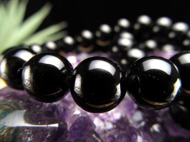 4A 天然チベットモリオン 黒水晶ブレスレット 8ミリ-8.5ミリ×23珠前後 黒水晶 モリオン チベット産 of-F2
