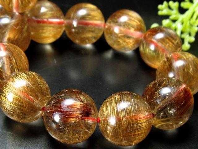 3A+ タイチン針有り タイガールチル ブレスレット 10.5mm-11mm×18珠 上品な深みのあるブラウンゴールド針 タイガールチルクォーツ ブラジル産 sai