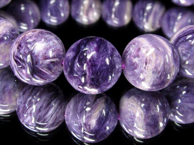 明るめ紫 4A チャロアイト(チャロ石)ブレスレット 11mm-11.5mm×18珠 妖艶マーブル 鮮やかパープル 人徳を高める 一点もの ロシア産 sai