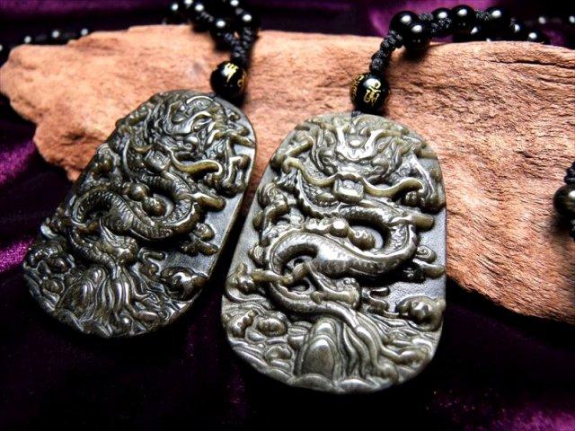 厄除け 激安 縦52ミリ 手彫り龍ネックレス 龍彫りゴールデンシャインオブシディアン ネックレス 60cm 被れるタイプ 極上天然石 パワーストーン