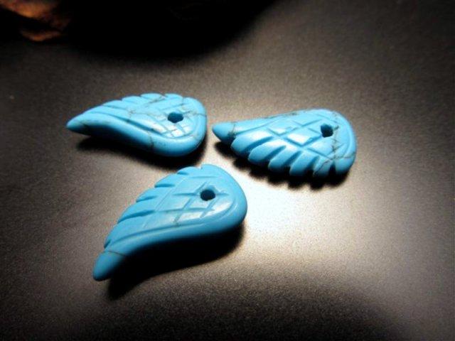 新入荷 天使の羽 天然石ビーズ 約18mm×10mmサイズ 全5種 ターコイズ