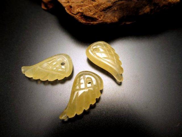 新入荷 天使の羽 天然石ビーズ 1個 約15mm×8mmサイズ 全10種 アラゴナイト