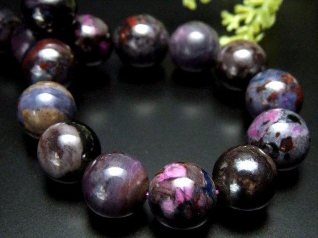 激レア入荷 4A+ 宝石質 藤色系紫MIXカラー スギライト 杉石 ブレスレット 10mm-11mm×19珠 つやつや 激レア限定入荷 一点もの 南アフリカ産 sai
