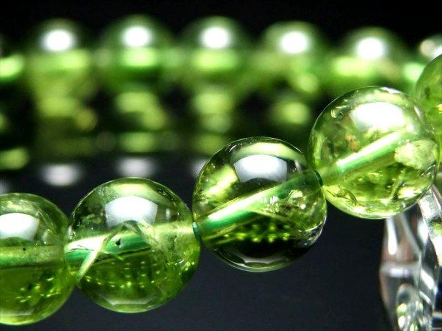 超透明 5A ペリドット ブレスレット 10.0mm×20珠(かんらん石) 8月誕生石 一点もの ミャンマー産 sai