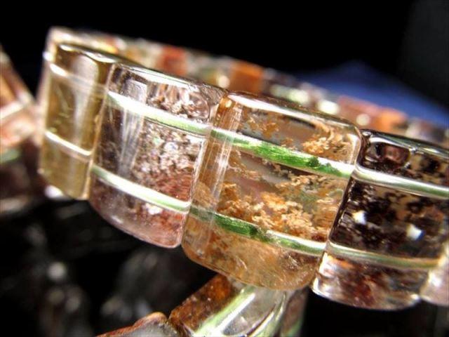 紅葉ガーデンクォーツ バングルブレスレット 幅約12mm-13mm 色鮮やか レクタングルタイプ 癒し 健康長寿 透明度抜群 ブラジル産