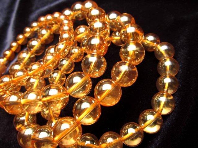 3A 高品質 ゴールデンオーラブレスレット 12mm-12.5mm×17珠前後 天然水晶使用 アメリカ産