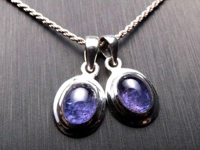 超透明宝石質 4A タンザナイト ペンダントトップ オーバルカット型 石サイズ縦約10mm SILVER925 タンザニア産 sai