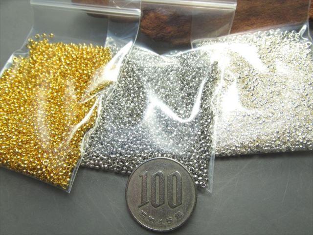 つぶし玉たっぷり30グラム1年分 1パック激安 つぶし玉 シルバー ゴールドの2色 真鍮 カシメ玉 外径約2mm、内径約1.7mm ハンドメイド 資材