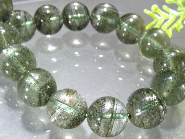 くっきり濃緑クローライト 4A グリーンガーデンファントムクォーツ ブレスレット 9.5mm-10mm×19珠 濃厚グリーン 健康と長寿の石 緑庭園幻影水晶 ブラジル産 sai