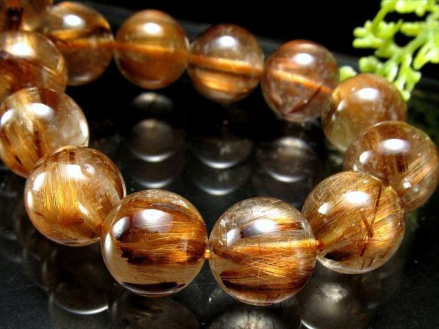 5A キャッツアイ珠有り タイガータイチンルチル ブレスレット 9mm×21珠 上品な深みのあるブラウンゴールド針 タイガールチルクォーツ ブラジル産 sai