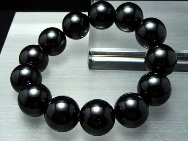 迫力の巨珠!4A 黒水晶 ブレスレット 18ミリ×12珠前後 チベットモリオン 最強の魔除け・邪気払いの石 チベット産 of-F2
