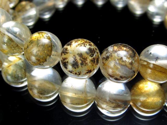 木の葉状鉱物デンドライト AAA デンドリッククォーツ 忍石 ブレスレット 10-10.5ミリ×19珠 極上天然石 一点もの マダガスカル産
