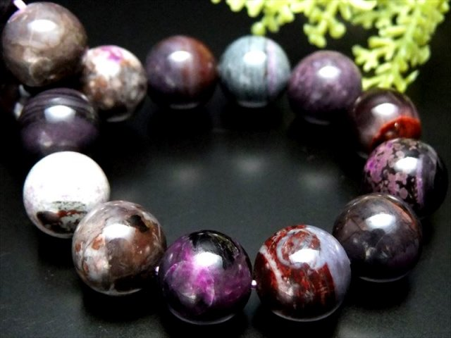 バイヤー厳選 4A+ 宝石質 紫陽花MIX スギライト 杉石 ブレスレット 12mm-12.5mm×17珠 つやつや 激レア限定入荷 一点もの 南アフリカ産 sai