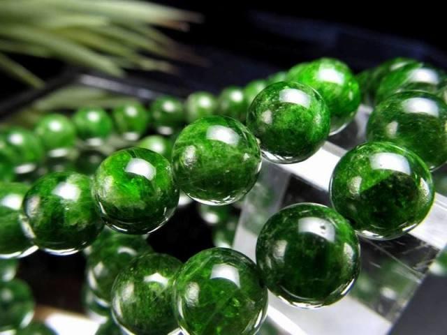 3A クロムダイオプサイト ブレスレット 約9.5mm-10mm×20珠前後 緑色透輝石 自然の癒しを感じる深緑色 知恵と叡智 ロシア産 sai