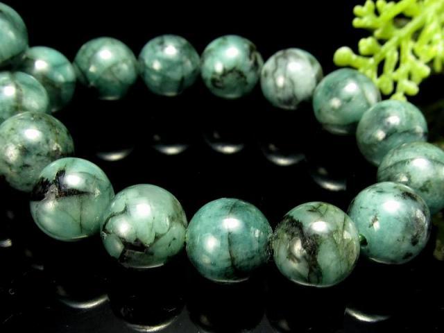 4A 極上艶感 濃色グリーン エメラルド ブレスレット 7.5mm-8mm×24珠 世界四大宝石の一つ 愛成就のお守り 叡智の象徴 翠玉 1点もの コロンビア産 sai