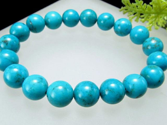 4A アリゾナの青い宝石 天然ターコイズ ブレスレット 8-8.5ミリ×24珠 トルコ石 出世の石 アリゾナ産 sai
