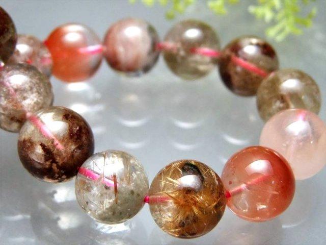 金属光沢針に純白雪化粧 4A ホワイトガーデン ブラウンルチルクォーツ(庭園針水晶)ブレスレット 11mm-11.5mm×18珠 ブラジル産 sai