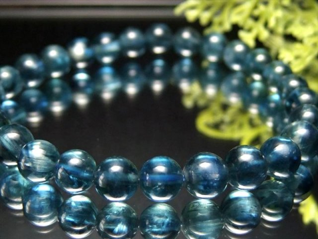 4A ほんのりキャッツアイ効果 カイヤナイト 藍晶石 ブレスレット 8.5mm×23珠 鮮やか 美麗ブルー 独立心や探究心を強める石 ブラジル産 sai
