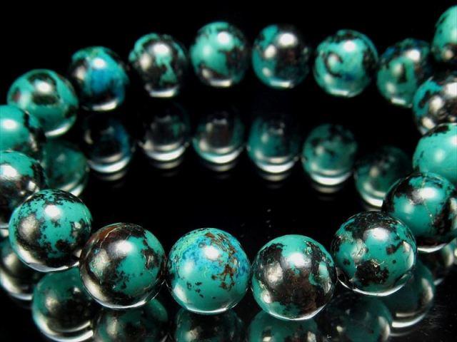 激レア 4A ブルーグリーンクリソコラ ブレスレット 8mm×24珠 光沢抜群まるで地球 自然の芸術 幸運と繁栄の象徴 珪孔雀石 一点もの コンゴ産 sai