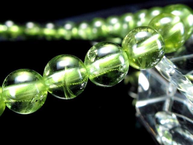 3A+ 超透明 ペリドット ブレスレット 6.5mm-7mm×27珠 (かんらん石) オリーブグリーン 8月誕生石 煌めく黄緑色 イブニングエメラルド 夜の宝石 一点もの ミャンマー産 sai