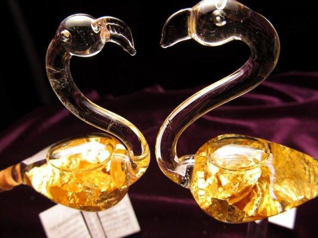 フラミンゴ 風水 インテリアに 高級感抜群 22金ゴールド GOLD 22K 入りミニボトル フラミンゴ型タイプ