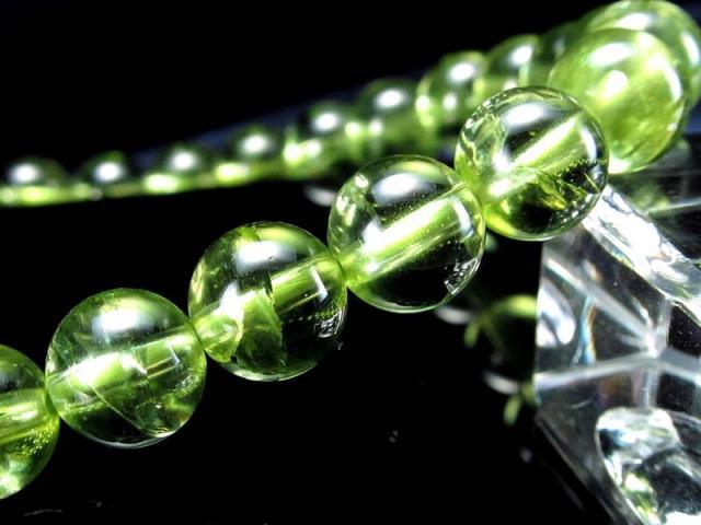 4A 超透明 ペリドット ブレスレット 7mm-7.5mm×26珠 (かんらん石) オリーブグリーン 8月誕生石 煌めく黄緑色 イブニングエメラルド 夜の宝石 一点もの ミャンマー産 sai