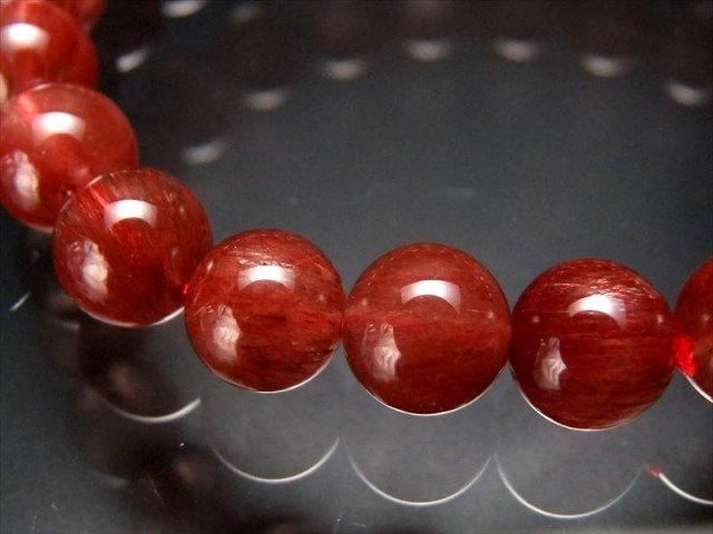 極上たっぷり赤針 4A レッドルチル ブレスレット 8.5mm-9mm×22珠 透明赤針 たっぷり繊細ルチル 極上天然石 一点もの ブラジル産 sai