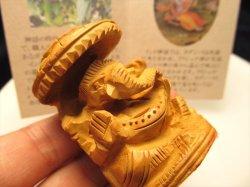 SS 人気 夢を叶える象 極上手彫り 木彫りガネーシャ置物 高さ約5.4cm 保証書付き