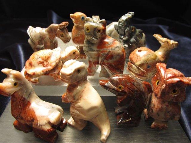 カワイイミニ動物置物 ディスプレイ インテリア ジャスパー製 激安 天然石ミニ動物置物 全11種