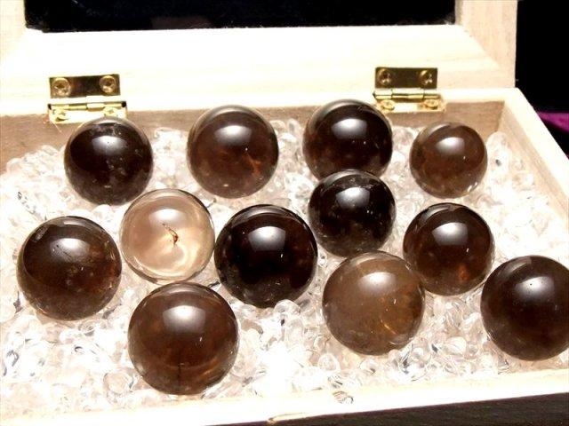 チビ丸玉セット売り スモーキークォーツ 丸玉 直径約16-22mm(約8個入り)魔除け・厄除けのお守りに 茶水晶 ブラジル産 sai
