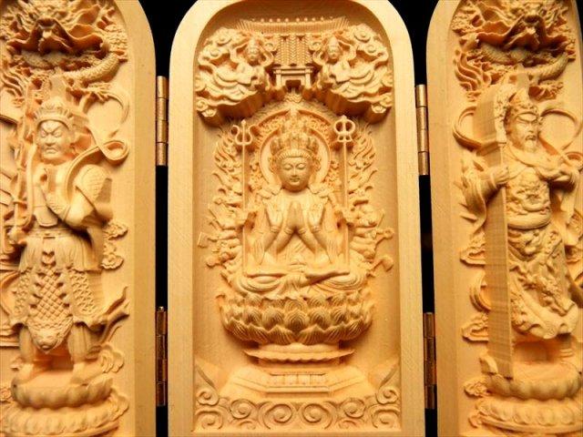 木彫り 千手観音像 置物 観音開き 5A極上彫り 高さ約100-105mm 風水やインテリアに 左右に二十八部衆立像