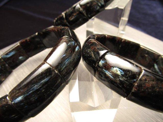 希少石 バングル型ブレスレット ブルーシルバーの輝き ヌーマイト バングルブレスレット 幅約15.0-15.5mm 内径サイズ18.5-19cm前後