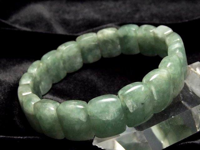 スクエアプレートタイプ 濃いめグリーン美品 翡翠 ミャンマージェイド バングルブレスレット 幅14ミリ 極上天然石 パワーストーン