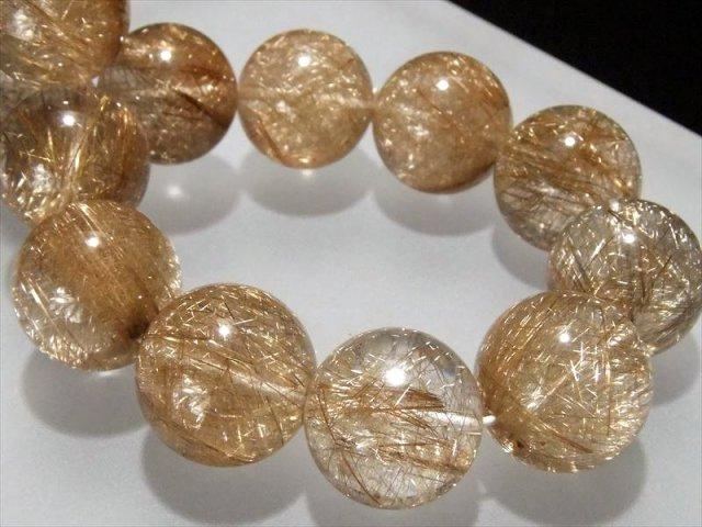 迫力の大珠 超透明 輝く銀針 4A+ シルバールチル ブレスレット 15mm-16mm×15珠 針バランス良タイプ ブラジル産 sai