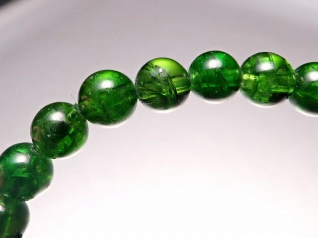 4A クロムダイオプサイト ブレスレット 5mm-6mm×33珠 超透明宝石質 深みのある鮮やかな緑色 知恵と叡智の石 一点もの ロシア産 sai
