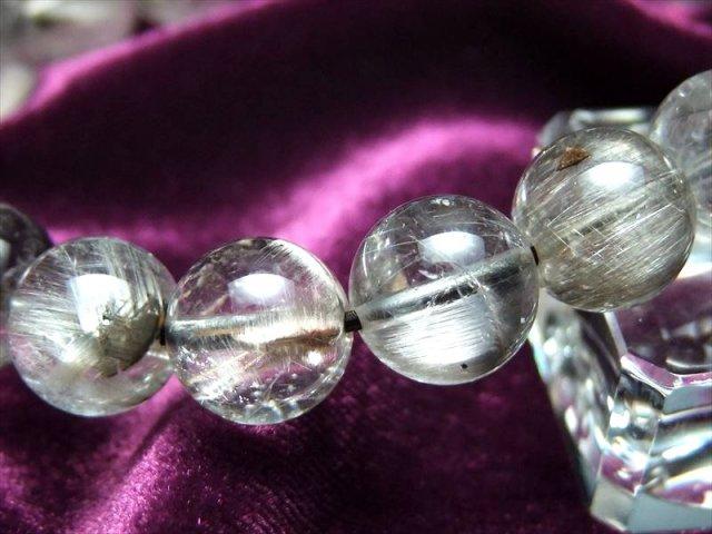 落ち着きと高級感のプラチナ色針結晶 4A プラチナルチルクォーツ ブレスレット 9.5mm-10mm×20珠 ブラジル産 sai