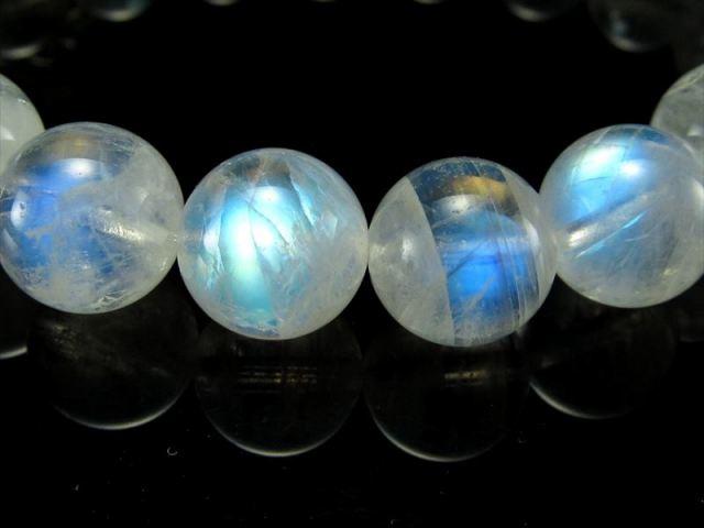 美麗ブルーシラー! 4A ブルームーンストーン ブレスレット 7.5mm-8mm×25珠 良質!透明感抜群! 永遠の愛を象徴する石 スリランカ産 sai