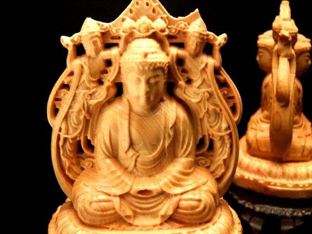 両面彫り 阿弥陀如来&菩薩 木彫り置物 高さ約85mm 木彫り 天然木観音彫刻シリーズ 風水やインテリアに