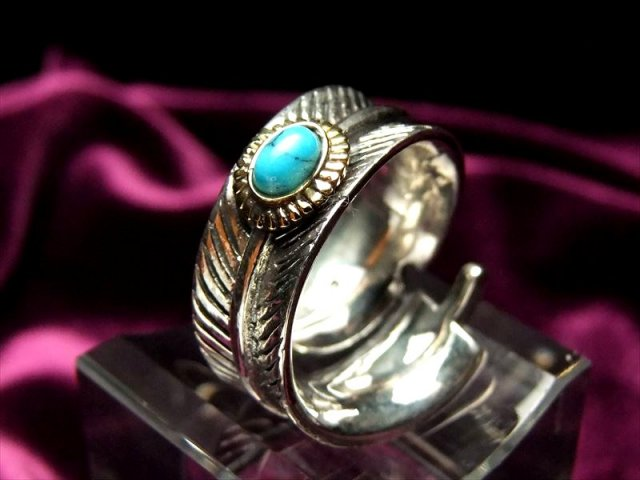 高品質 シルバージュエリー ターコイズ フェザーモチーフ リング フリーサイズ 石サイズ 幅約10mm フェザータイプ 指輪 SILVER925