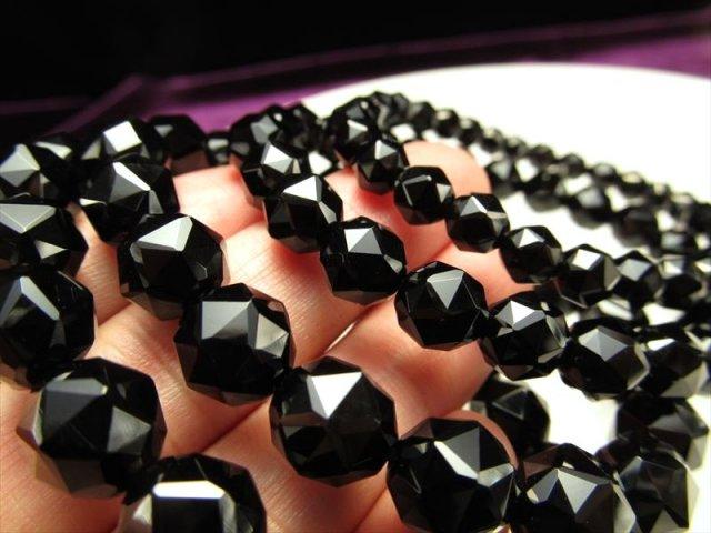 4A 極上 黒水晶 スターカット ブレスレット 約8mm×23珠前後 最強の魔除け 邪気払いの石 天然 モリオン チベット産 of