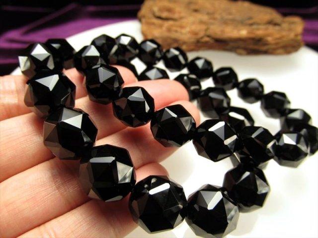 4A 極上 黒水晶 スターカット ブレスレット 約14mm×15珠前後 最強の魔除け 邪気払いの石 天然 モリオン チベット産 of-F2