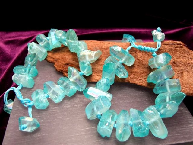 天然水晶ポイント使用 紐網み アクアオーラブレスレット 石サイズ 20-30mm フリーサイズ